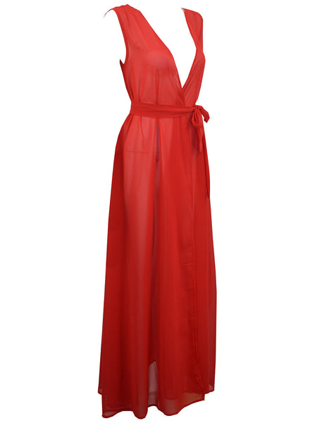 V Neck Sleeveless Tie Waist Slit Chiffon Dress - girlyrose.com