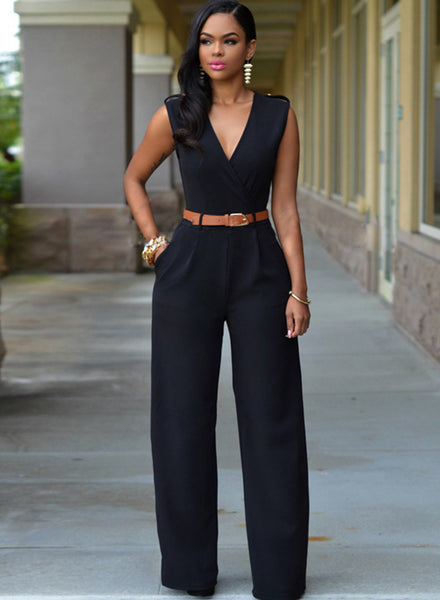 V Neck Sleeveless Wide-leg Jumpsuit With Belt - girlyrose.com