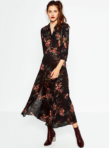 Vintage Ethnic Floral Print Three Quarter Length Sleeve Maxi Dress