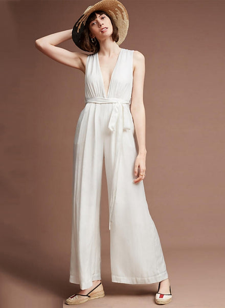 White V Neck Wide Leg Jumpsuit - girlyrose.com