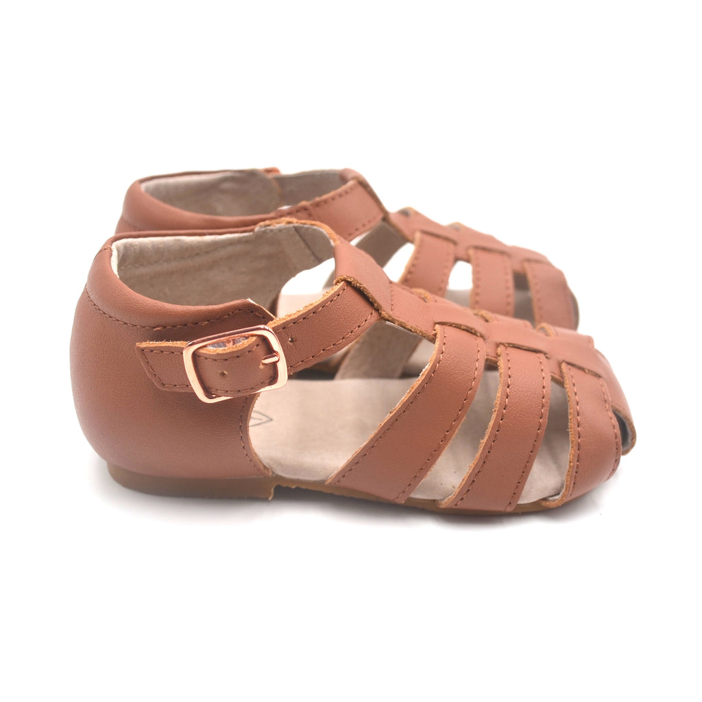 Australian summer sandals saltwater sandals boho Hubbleandduke lasienna tan leather toddler