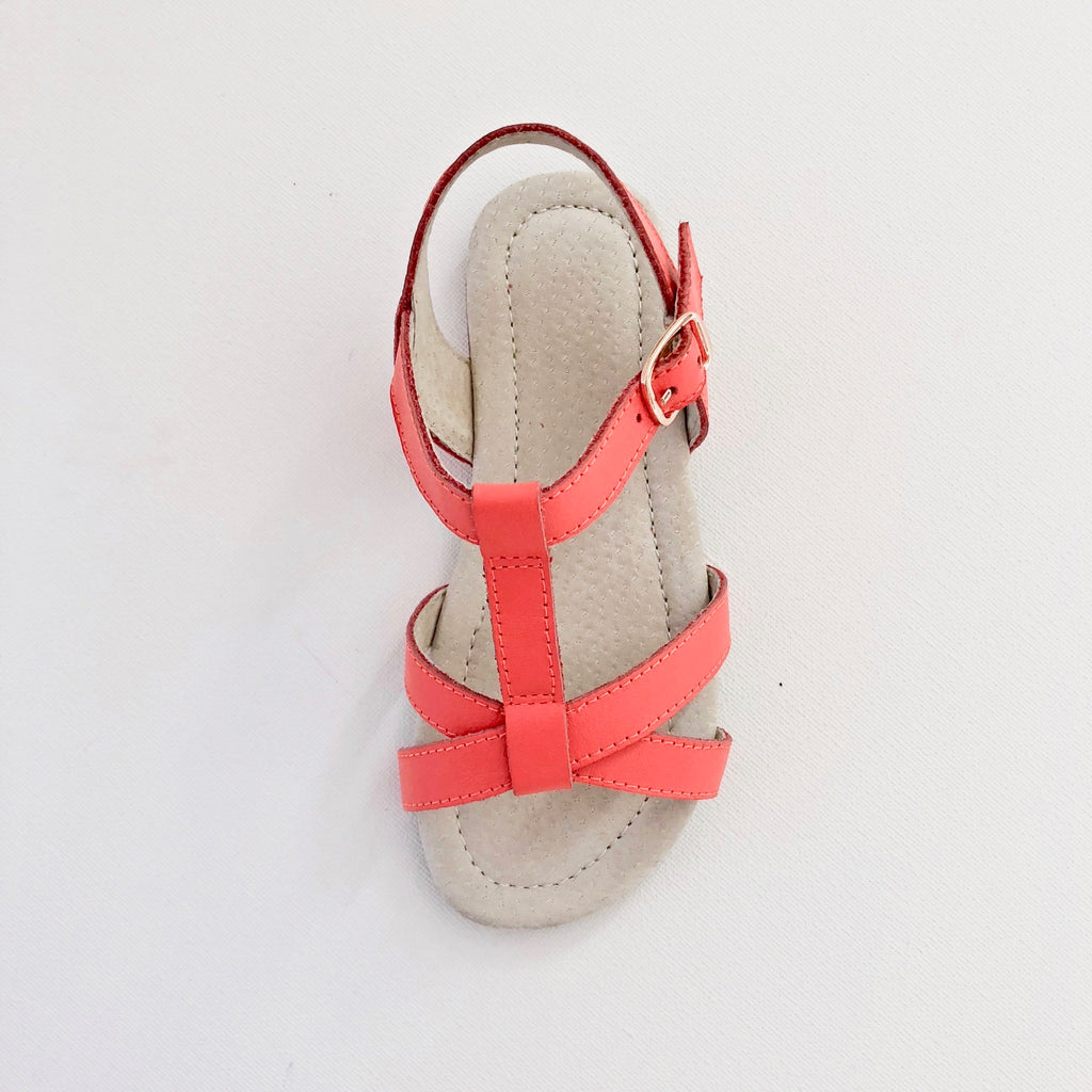Kids Leather Sandal with Rose Gold Buckle