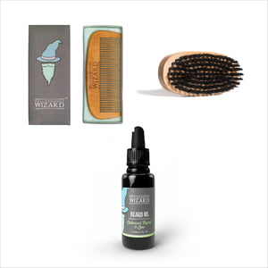 Beard Comb, Brush & Oil