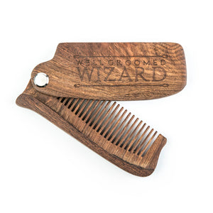 Folding Wooden Beard Comb