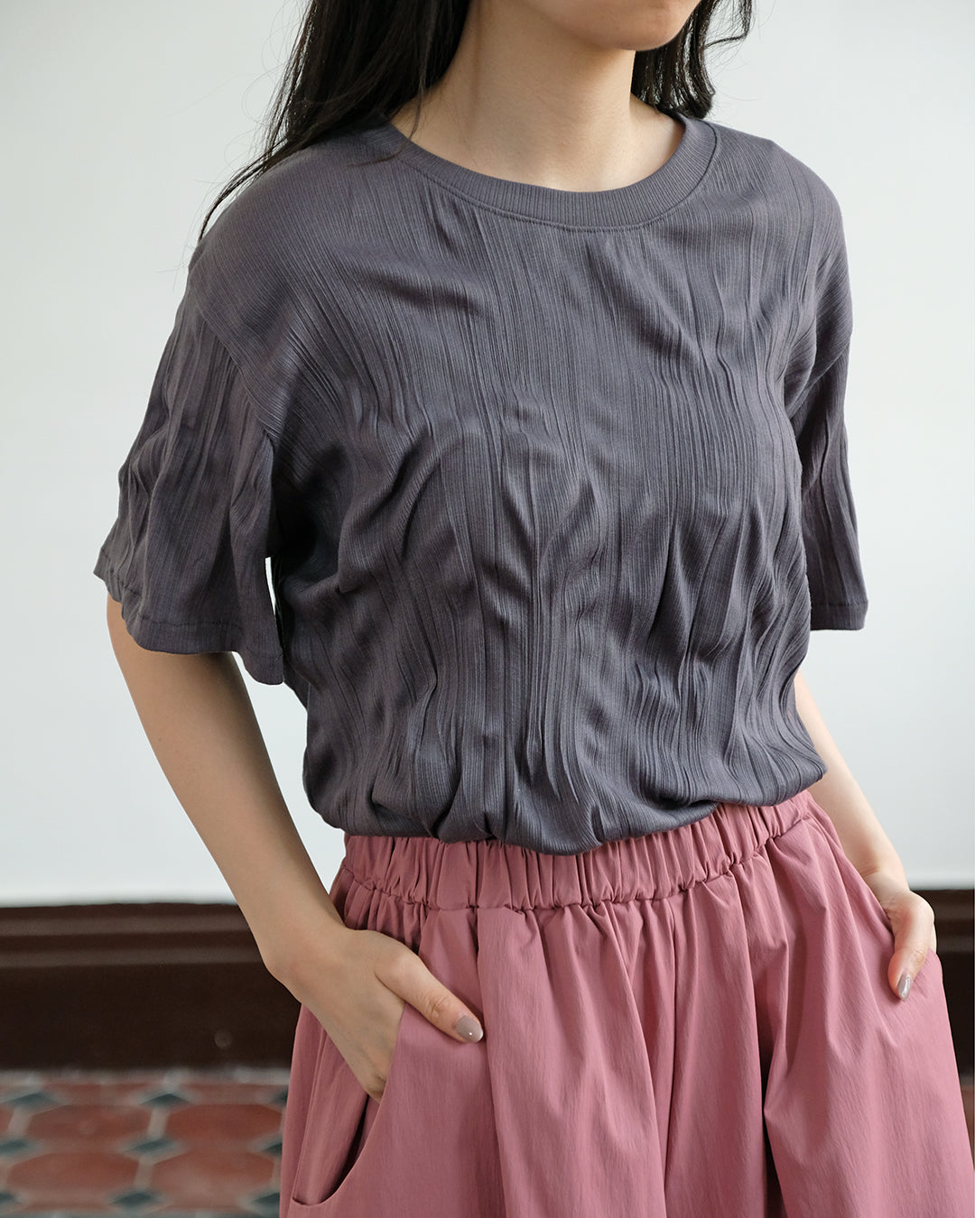 Basic Crinkle Fabric Top (4 Color)