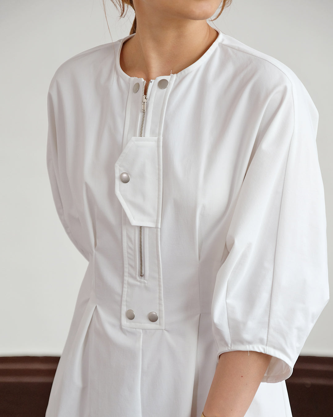Zip Detailed Shirt Dress (2 color)