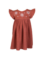 Eshri Embroidered Dress - Rust