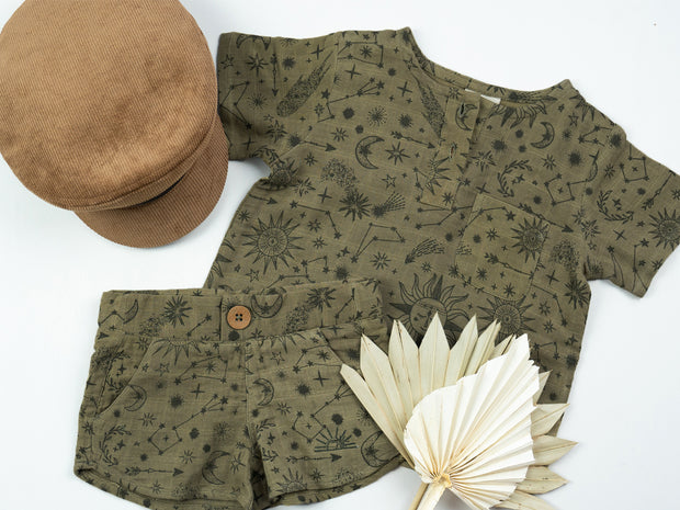 Taj Shorts - Olive Constellation