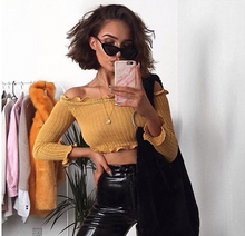 NICOLE MUSTARD FRILL HEM RIBBED CROP TOP