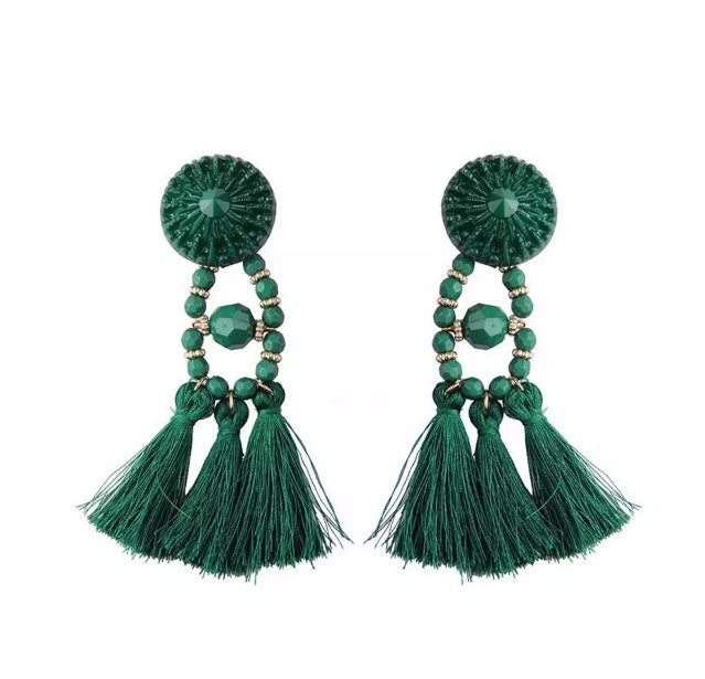 VALENTINA GREEN TASSEL EARRINGS