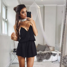 CLARA BLACK SATIN SPAGHETTI CROSS STRAP PLAYSUIT