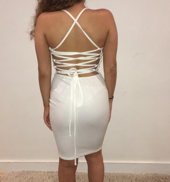 AALIYAH WHITE BACKLESS LACE UP DRESS