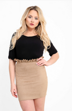 RHIA CAMEL FRILL HIGH WAISTED SUEDE MINI SKIRT