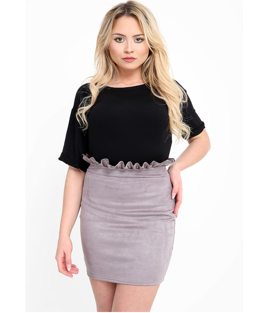 RHIA GREY FRILL HIGH WAISTED SUEDE MINI SKIRT