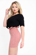 RHIA DUSTY PINK FRILL HIGH WAISTED SUEDE MINI SKIRT