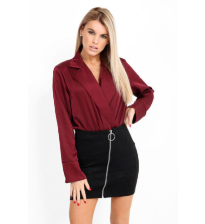 BELLA BLACK ZIP FRONT SUEDE MINI SKIRT