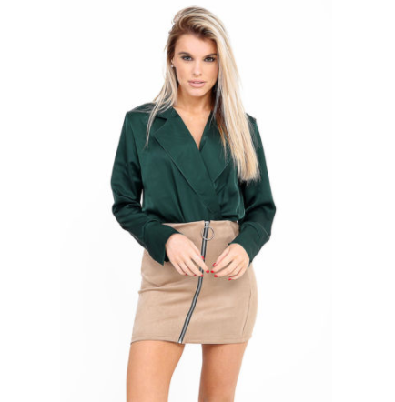 BELLA NUDE ZIP FRONT SUEDE MINI SKIRT