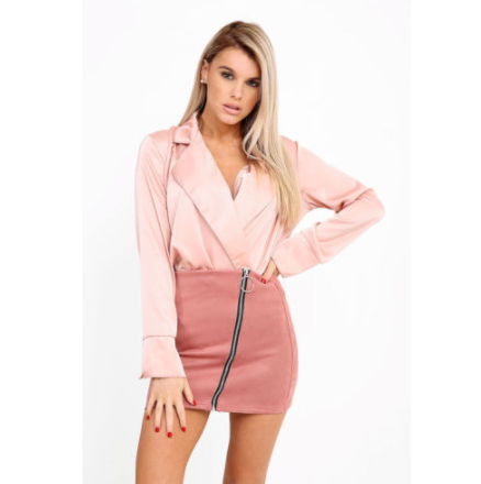BELLA DUSTY PINK ZIP FRONT SUEDE MINI SKIRT