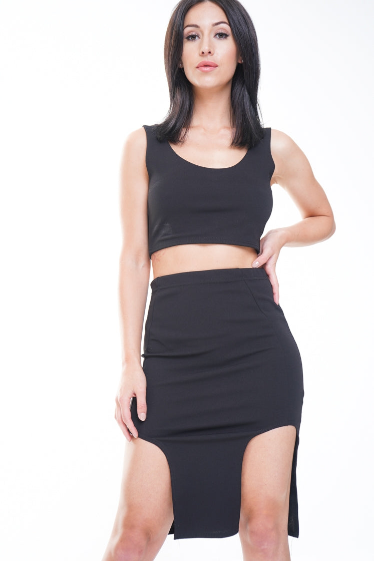 MELODY BLACK SPLIT FRONT SKIRT AND CROP TOP CO-ORD SET