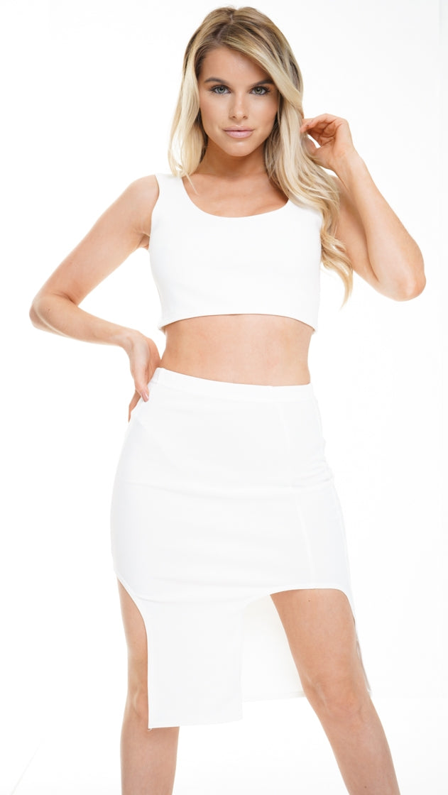 MELODY WHITE SPLIT FRONT SKIRT AND CROP TOP CO-ORD SET