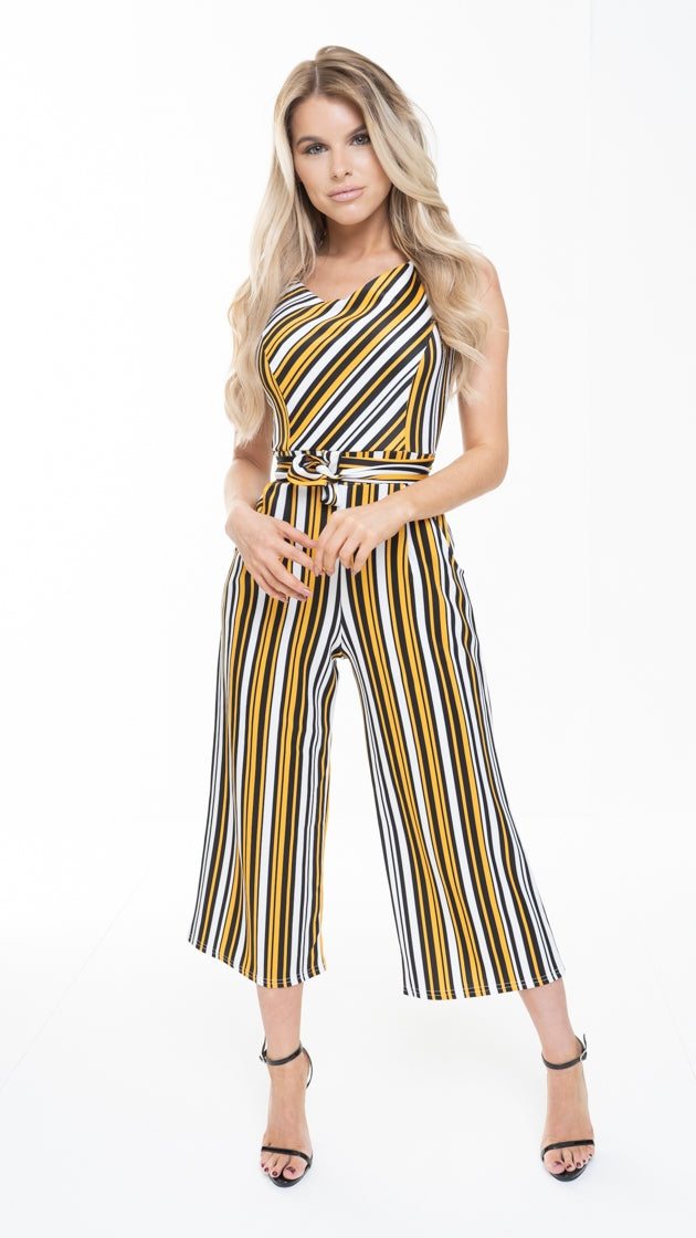 BEATRICE ORANGE STRIPED TIE WAIST CULOTTE JUMPSUIT