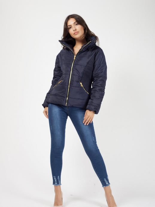 LOLA NAVY FAUX FUR LINING PADDED JACKET