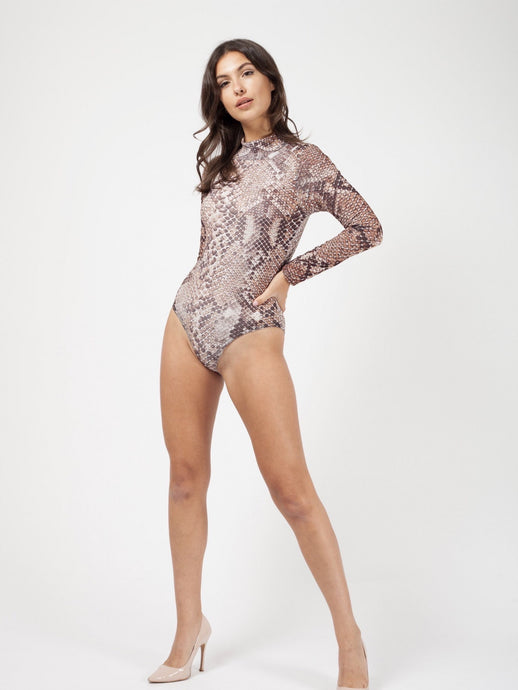 PATRICIA SNAKE PRINT HIGH NECK BODYSUIT