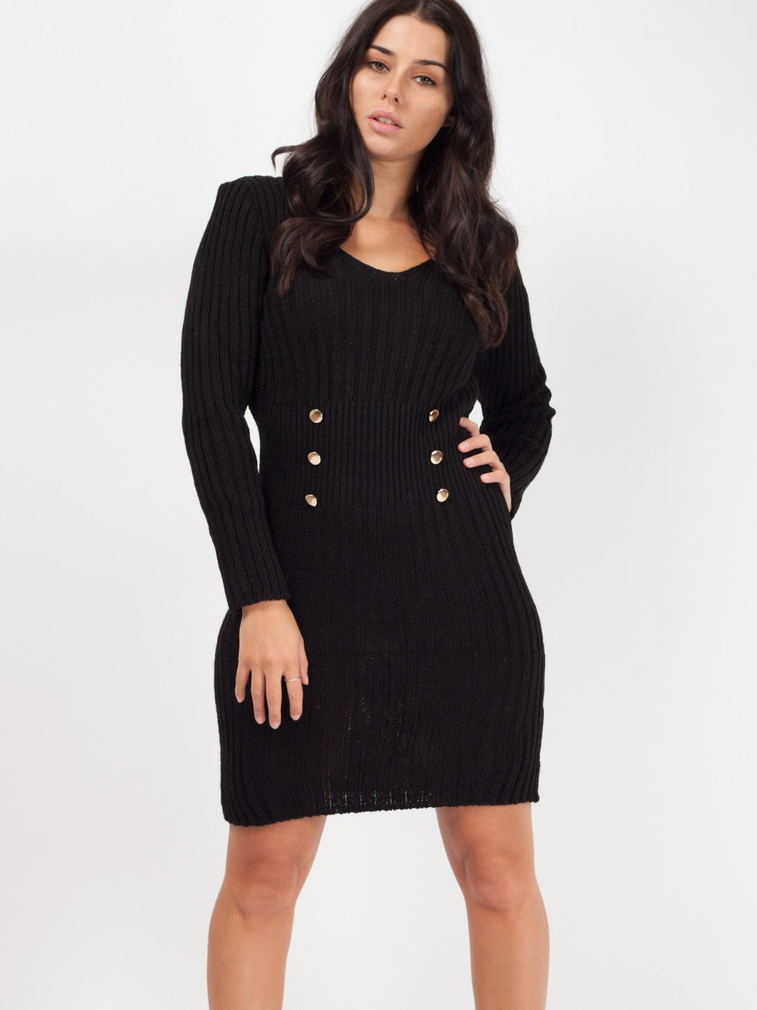 ROSIE BLACK BUTTON FRONT KNITTED DRESS