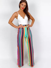 BROOKE MULTI STRIPE PAPERBAG FLARE TROUSERS
