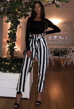 RAYE BLACK AND WHITE STRIPE PAPERBAG TROUSERS
