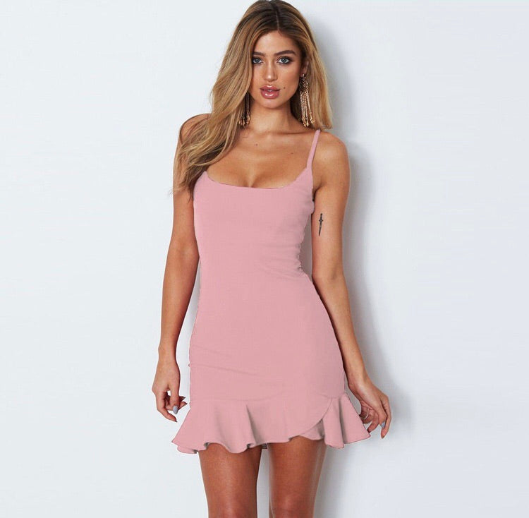 TILLY PINK RUFFLE HEM MINI DRESS