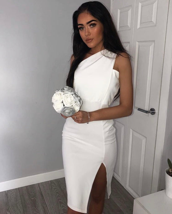 KELLY WHITE ONE SHOULDER SLIT MIDI DRESS