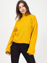 MARLEY MUSTARD HIGH NECK KNITTED JUMPER