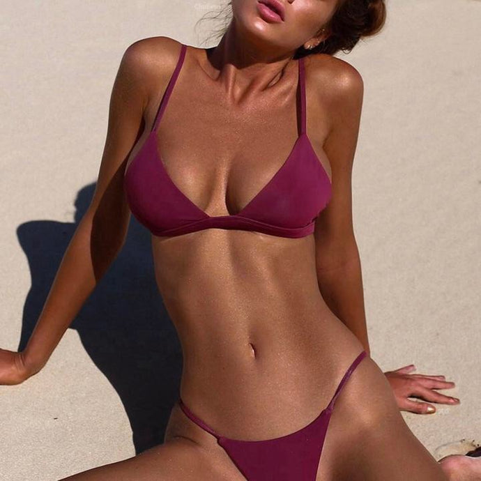 HAILEY WINE RED TRIANGLE BRAZILIAN BIKINI