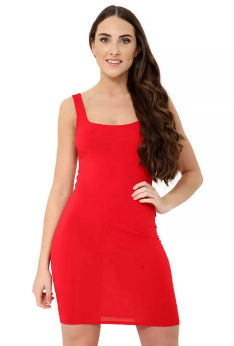 NIA RED SCOOP NECK MINI DRESS