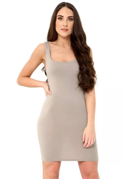 NIA STONE SCOOP NECK MINI DRESS