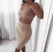MIRIAM BEIGE CROP TOP AND MIDI SKIRT CO-ORD SET
