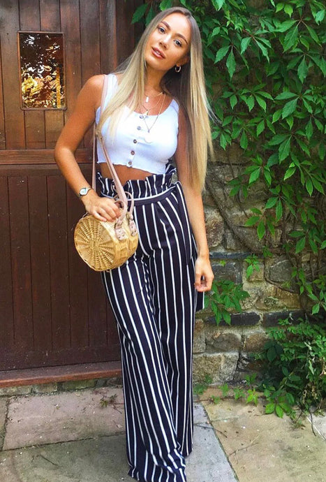 ARABELLA BLACK STRIPE PAPERBAG TROUSERS