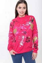 SAMIRA PINK PAINT SPLATTER JUMPER