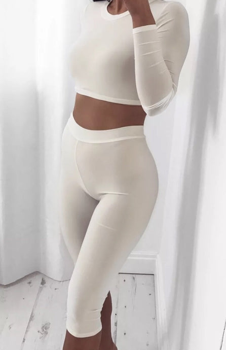 LYLA WHITE CROP TOP AND LEGGINGS CO-ORD SET