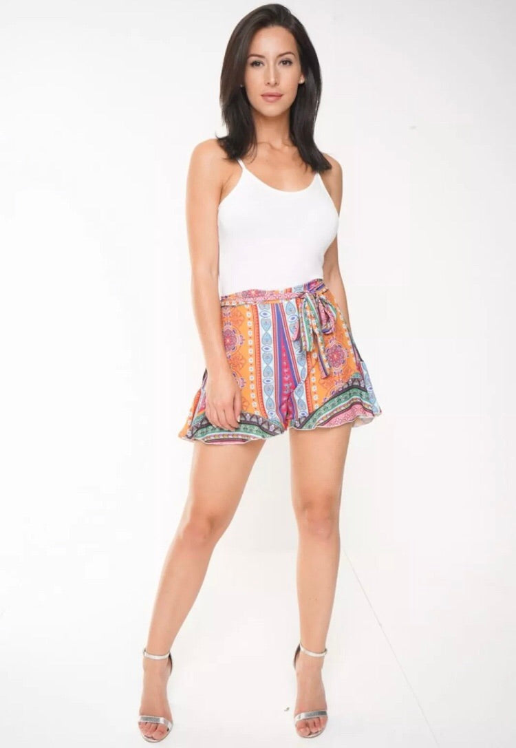 SADIE PAISLEY HIGH WAISTED FRILL SHORTS