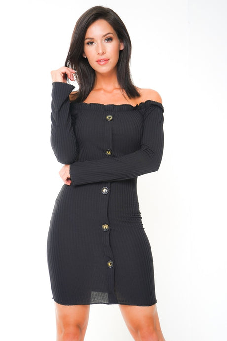 KAYLA BLACK FRILL RIBBED BUTTON DETAIL DRESS