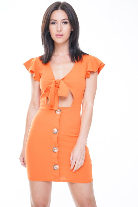 LAETICIA ORANGE BUTTON DETAIL KNOT FRONT DRESS