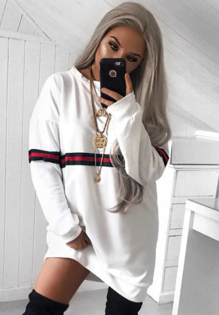 cassie white oversized stripe jumper dress