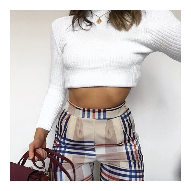 lucy beige tartan print tapered trousers