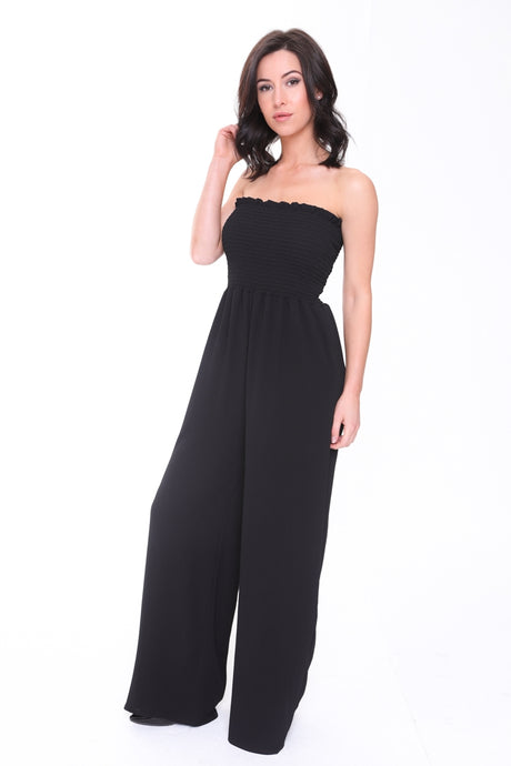 MARIA BLACK SHIRRED BANDEAU JUMPSUIT