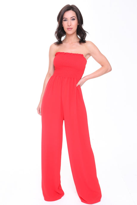 MARIA RED SHIRRED BANDEAU JUMPSUIT