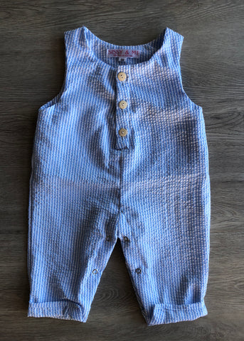 Crepe cotton button up romper blue