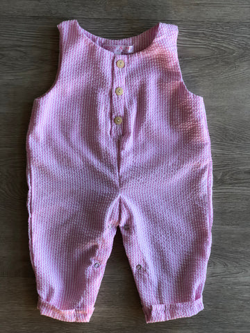 Crepe cotton button up romper pink
