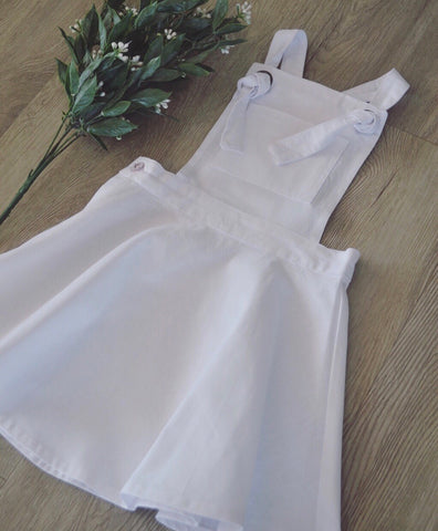 White Sadie pinafore cotton linen